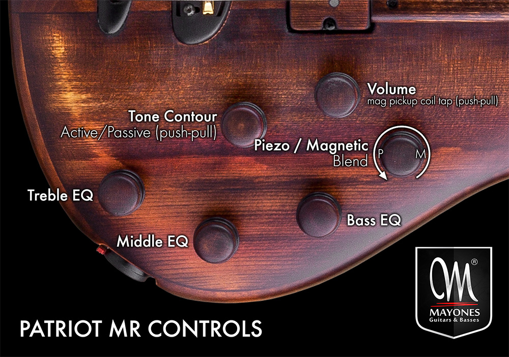 Patriot MR Fretless Basses Control Layout